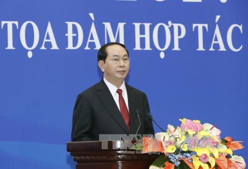 Chủ tịch nước Trần Đại Quang phát biểu tại Tọa đàm Hợp tác kinh tế, thương mại Việt Nam-Trung Quốc 2017. Ảnh: TTXVN