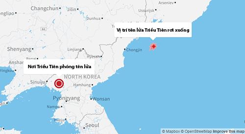 Mô phỏng vị trí tên lửa Triều Tiên rơi xuống theo ước tính của Mỹ. Đồ họa: Map Box/CNN.