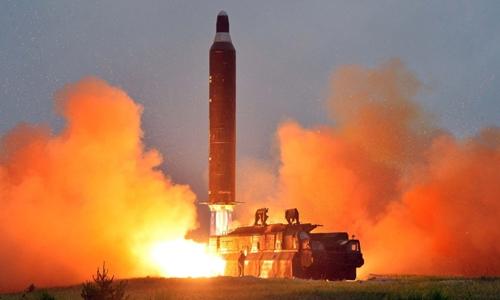 Một vụ phóng thử tên lửa của Triều Tiên. Ảnh: KCNA.