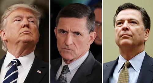 Từ trái sang, Tổng thống Mỹ Donald Trump, cựu cố vấn an ninh quốc gia Michael Flynn và cựu giám đốc FBI James Comey. Ảnh: Reuters.