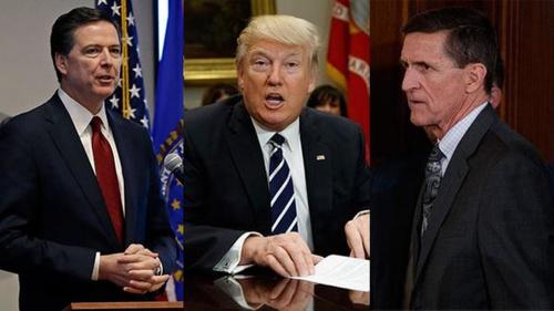 James Comey, cựu giám đốc FBI (trái), Tổng thống Mỹ Donald Trump và Michael Flynn, cựu cố vấn an ninh quốc gia. Ảnh: ABCNews