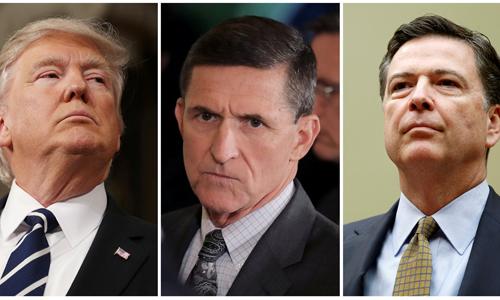 Tổng thống Mỹ Donald Trump (trái), cựu cố vấn an ninh quốc gia Michael Flynn, cựu giám đốc FBI James Comey. Ảnh: Reuters.