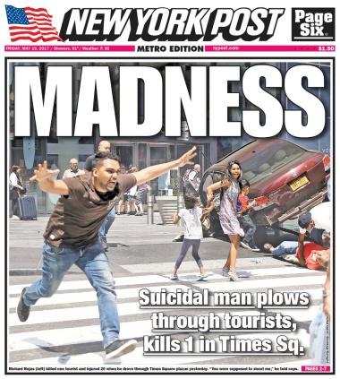 Hình ảnh Guerin chụp được đăng lên trang bìa New York Post. Ảnh: Twitter