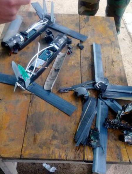 Những chiếc UAV bị quân đội Syria bắn hạ. Ảnh:Almasdar News.