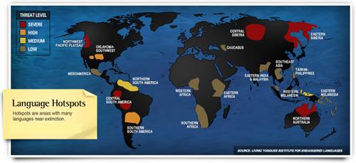 Các điểm nóng ngôn ngữ trên thế giới. Ảnh: Viện Ngôn ngữ sống dành cho các ngôn ngữ bị đe dọa