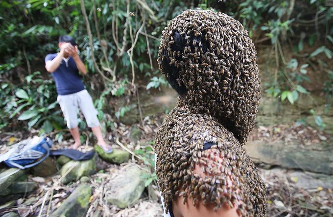 Nghìn con ong rừng đậu kín mặt 'dị nhân' Điện Biên