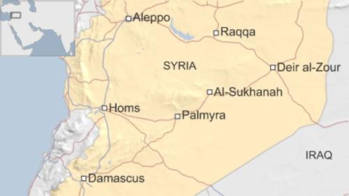 Vị trí thành phố Raqqa và Palmyra, Syria. Đồ họa: BBC.