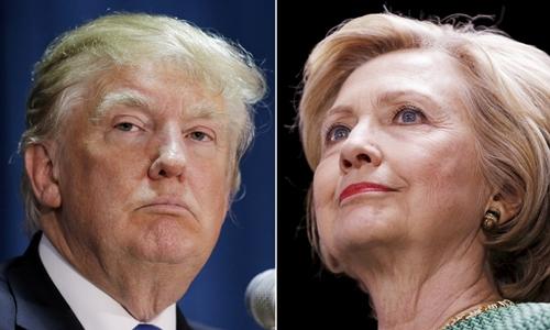 Tổng thống Donald Trump (trái) và cựu ngoại trưởng Mỹ Hillary Clinton. Ảnh: Reuters.