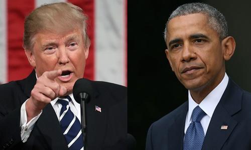 Tổng thống Trump và người tiền nhiệm Obama. Ảnh: CNN