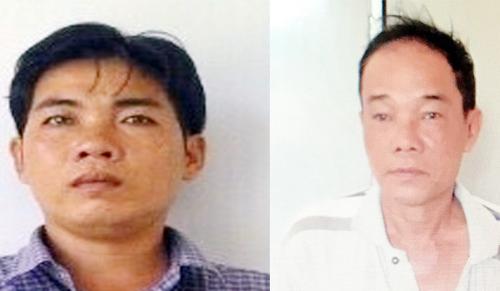 Oanh Em (bên trái) và người tiêu thụ trâu Kiển Duyên. Ảnh: CA.