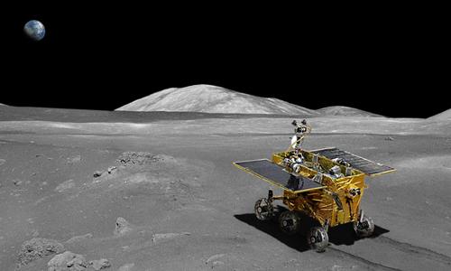 Đồ họa robot Thỏ Ngọc trên Mặt Trăng. Ảnh chụp màn hình: Space