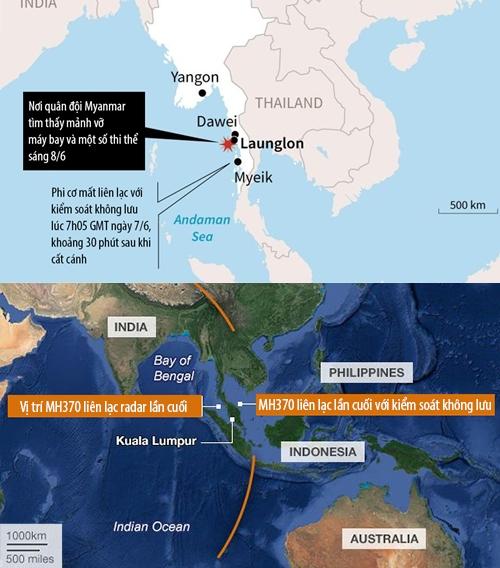 Vị trí phi cơ Y-8F-200 của Myanmar gặp nạn và MH370 liên lạc với radar lần cuối. Đồ họa: AFP/BBC.