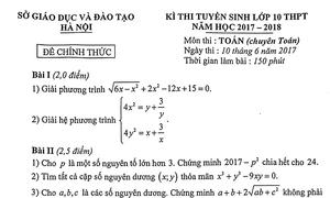 Đề Toán vào lớp 10 trường chuyên ở Hà Nội