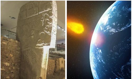 Các bức tranh khắc trên cột đá kể về sự kiện sao chổi va vào Trái Đất. Ảnh: Telegraph