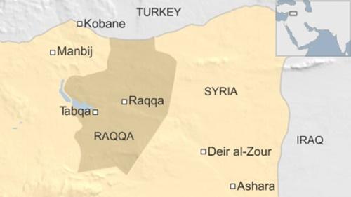 Vị trí thành phố Raqqa, Syria. Đồ họa: BBC.