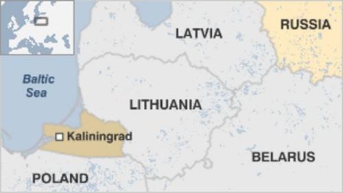 Vị trí biển Baltic và Kaliningrad. Đồ hoạ: BBC