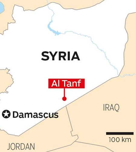 Vị trí căn cứ al-Tanaf. Đồ họa: Gulf News.