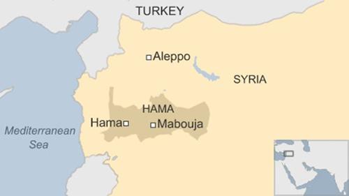 Vị trí tỉnh Hama, Syria. Đồ họa: BBC.