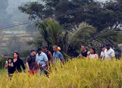 Obama đi bộ bên những cánh đồng lúa Indonesia. Ảnh: AFP
