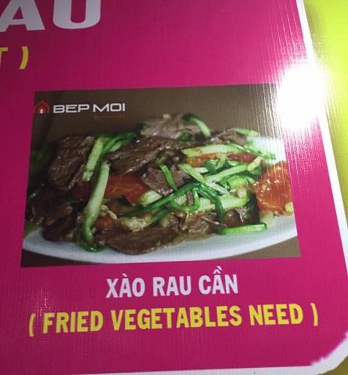 Thực đơn vui tính dịch rau cần sang tiếng Anh là từ ghép của vegetables (rau) và need (cần).