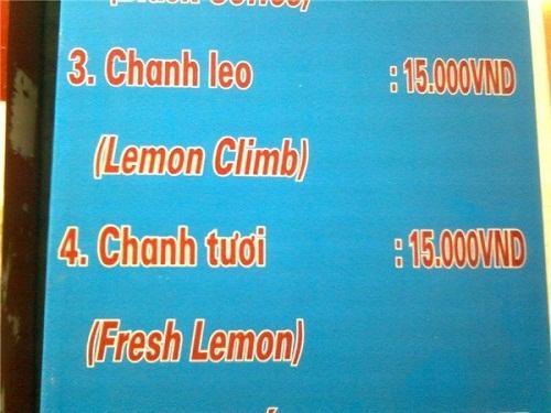 Chanh leo được dịch sát nghĩa thành lemon climb (quả chanh leo trèo).