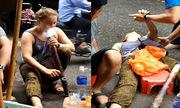 Cô gái Tây hút thuốc lào, say bật ngửa giữa phố Hà Nội