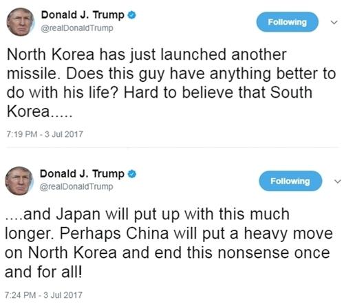 Tổng thống Donald Trump bình luận về việc Triều Tiên phóng tên lửa trên Twitter. Ảnh: Twitter/realDonaldTrump.