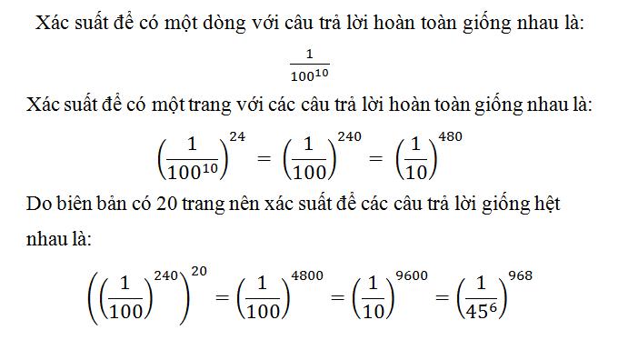 Đáp án bài toán xác suất hai văn bản giống hệt nhau