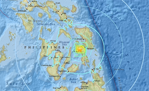 Vị trí tâm chấn động đất mạnh 6,5 độ Richter ở đảo Leyte, Philippines. Đồ họa: USGS
