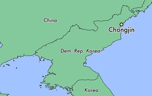 Vị trí thành phố Chongjin, Triều Tiên. Đồ họa: World Atlas.