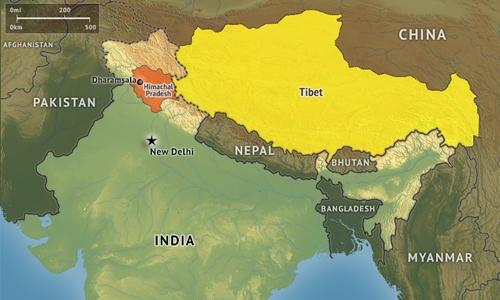 Vị trí khu vực Tây Tạng. Đồ họa: Strafor.