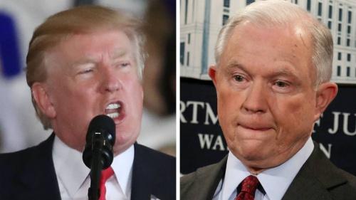 Tổng thống Mỹ Donald Trump và Bộ trưởng Tư pháp Jeff Sessions. Ảnh: Hill.