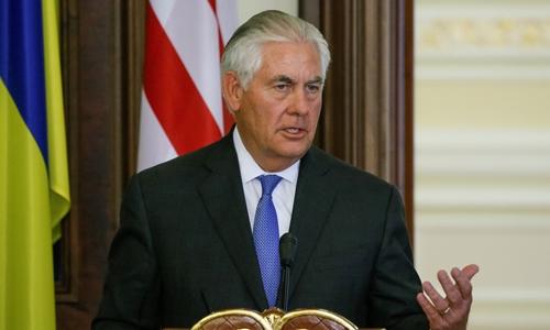 Ngoại trưởng Mỹ Rex Tillerson phát biểu tại thủ đô Kiev, Ukraine, ngày 9/7. Ảnh: reuters.