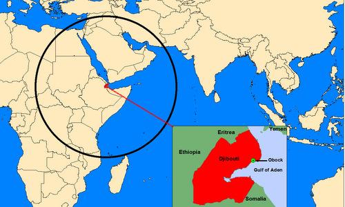 Vị trí căn cứ hải quân Trung Quốc đặt tại Obock, Djibouti. Ảnh: IDSA.