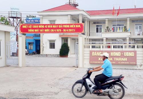 UBND xã Hòa Thành, TP Cà Mau - nơi vợ phó bí thư xã được đời hộ khẩu để cấp sổ cận nghèo. Ảnh: Phúc Hưng.