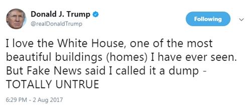 Tổng thống Mỹ khẳng định ông yêu Nhà Trắng. Ảnh: Twitter/@realDonaldTrump.