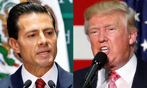 Tổng thống Mỹ Donald Trump (phải) và người đồng cấp Mexico Enrique Pena Nieto. Ảnh: Reuters.