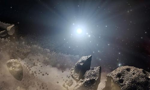 Các tiểu hành tinh hình thành sau khi vi thể hành tinh vỡ ra. Ảnh: NASA.