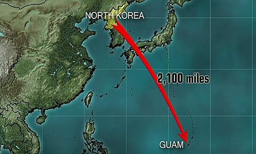 Khoảng cách giữa Triều Tiên và Guam. Đồ hoa: CNN.