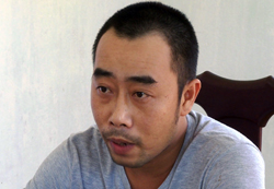 Trần Thuận Mẫn tại cơ quan điều tra. Ảnh: Kh.Uyên