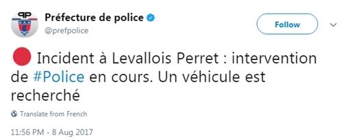 Cảnh sát Pháp thông báo về vụ việc ở Levallois-Perret trên Twitter. Ảnh: Twitter/prefpolice.
