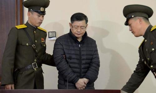 Hyeon Soo Lim ra tòa án ở Bình Nhưỡng, Triều Tiên, tháng 12/2015. Ảnh: Reuters/KCNA.