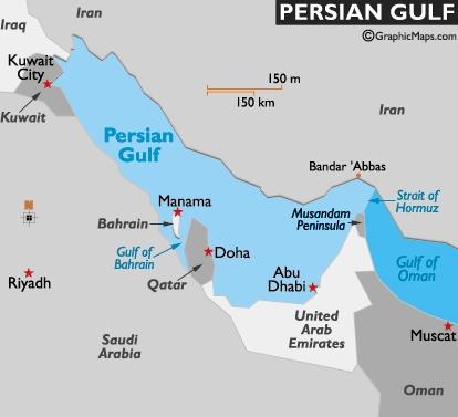Vị trí vịnh Persia. Đồ họa: World Atlas.