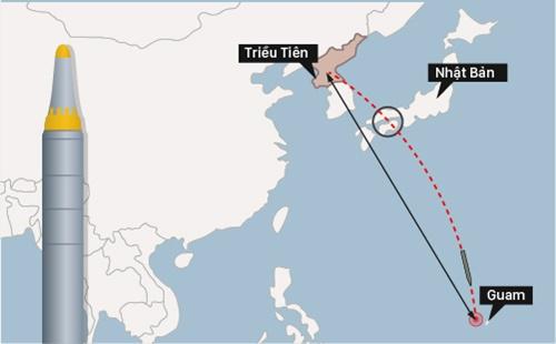 Kế hoạch tấn công Guam của Triều Tiên. Đồ họa: Việt Chung.