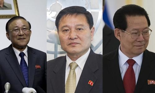 Từ trái sang, đại sứ Triều Tiên Ji Jae-ryong tại Trung Quốc, Ja Song-nam tại Liên Hợp Quốc và Kim Hyong-jun, tại Nga. Ảnh: AP