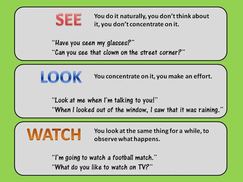 Thử tài trắc nghiệm sự khác biệt giữa See, Look và Watch