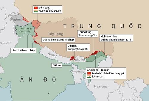 Tranh chấp biên giới giữa Ấn Độ và Trung Quốc (bấm vào hình để xem chi tiết).  Đồ họa: Việt Chung.
