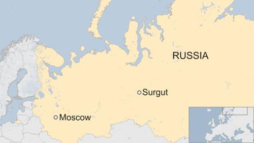 Vị trí thành phố Surgut, Nga. Đồ họa: BBC>