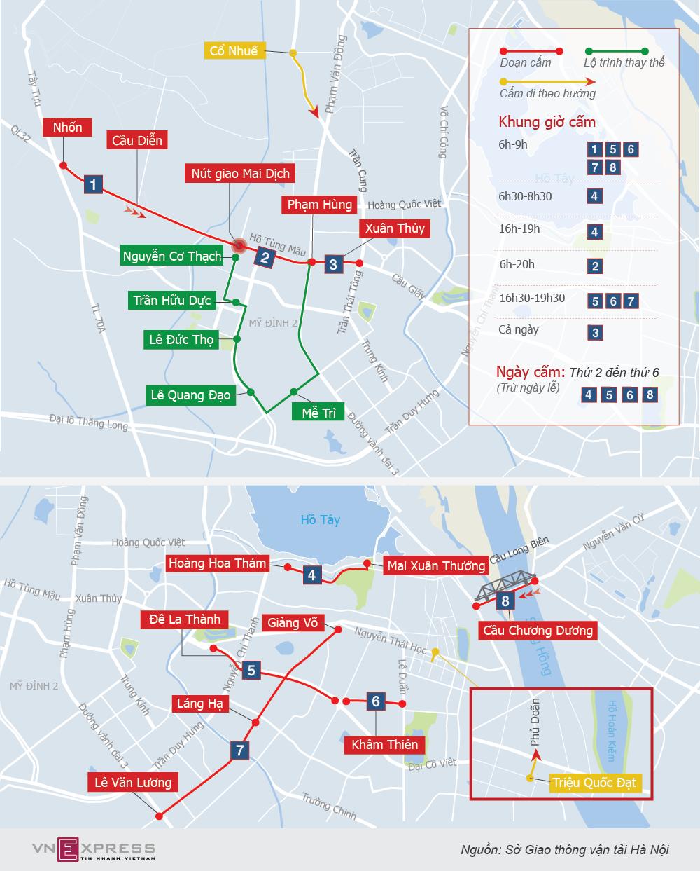 13 tuyến phố Hà Nội cấm taxi