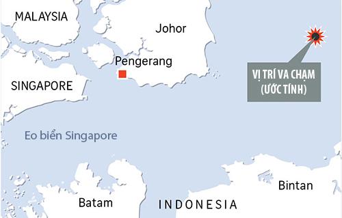 Vị trí khu trục hạm Mỹ đâm tàu chở dầu Liberia. Đồ họa: Straits Times.